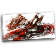 DesignArt Burnt Sports Car Graphic Art on Gallery Wrapped Canvas in Red
