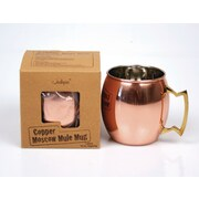 Jodhpuri 16 oz. Moscow Mule Copper Mug with Brass Handle (Set of 4)
