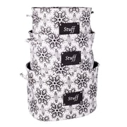 Sweet Home Collection Luxury 3 Piece Tote Set with Stuff Patch Tattoo Flower Design