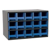 Akro Mils 19-Series Steel Cabinet with 15 Drawers; Blue