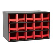 Akro Mils 19-Series Steel Cabinet with 15 Drawers; Red