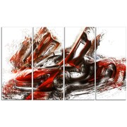 DesignArt Burnt Sports Car 4 Piece Graphic Art on Gallery Wrapped Canvas Set in Red