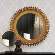 Howard Elliott Medallion Mirror; Gold