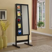 Artiva USA Deluxe Double Doors Jewelry Armoire w/ Chevor Mirror; Java Black