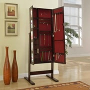 Artiva USA Deluxe Double Doors Jewelry Armoire w/ Chevor Mirror; Espresso