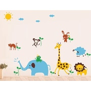 Pop Decors Cute Animals in The Jungle Removable Vinyl Art Wall Decal