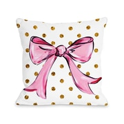 One Bella Casa Pink Bow Dots Bows Polyester Throw Pillow; 18'' x 18''