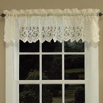 Sweet Home Collection Old World Style Floral Heavy Lace Curtain Valance