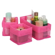 Sweet Home Collection 3 Piece Quick Dry Bathroom Counter Cabinet Storage Bin Organizer Set; Fuchsia