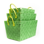 Sweet Home Collection 3 Piece Woven Storage Baskets with Handles (Set of 3); Green