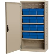 Akro Mils 38''H x 19.25''W x 13.25''D 12 Drawer Storage Cabinet; Putty/Blue