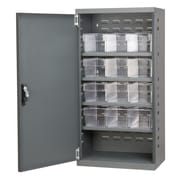 Akro Mils 38''H x 19.25''W x 13.25''D 12 Drawer Storage Cabinet; Gray/Clear