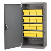 Akro Mils 38''H x 19.25''W x 13.25''D 12 Drawer Storage Cabinet; Gray/Yellow