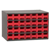 Akro Mils 19-Series Steel Cabinet with 28 Drawers; Red