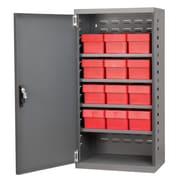 Akro Mils 38''H x 19.25''W x 13.25''D 12 Drawer Storage Cabinet; Gray/Red