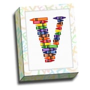 Picture it on Canvas Alphabet Crayon Kids Graphic Art on Canvas; V
