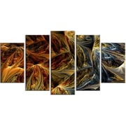 DesignArt Molten Abstract 5 Piece Graphic Art on Gallery Wrapped Canvas Set in Gold