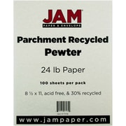 "JAM Paper® 24 lb.. Parchment Recycled Paper, 8 1/2"" x 11"", Pewter, 100/Pack"