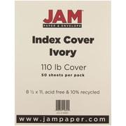 """JAM Paper® 110 lb. 8 1/2"""" x 11"""" Vellum Bristol Index Cardstock, Ivory, 50/Pack"""