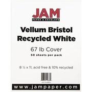 """JAM Paper® 67 lb. 8 1/2"""" x 11"""" Vellum Bristol Cardstock, White, 50/Pack"""