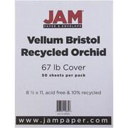 """JAM Paper® 67 lb. 8 1/2"""" x 11"""" Vellum Bristol Cardstock, Orchid, 50/Pack"""