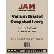 """JAM Paper® 67 lb. 8 1/2"""" x 11"""" Vellum Bristol Cardstock, Ivory, 50/Pack"""