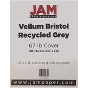 """JAM Paper® 67 lb. 8 1/2"""" x 11"""" Vellum Bristol Cardstock, Gray, 50/Pack"""