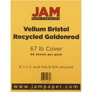 "JAM Paper® 67 lb. 8 1/2"" x 11"" Vellum Bristol Cardstock, Goldenrod, 50/Pack"
