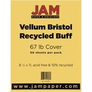 """JAM Paper® 67 lb. 8 1/2"""" x 11"""" Vellum Bristol Cardstock, Buff, 50/Pack"""