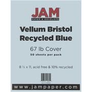 """JAM Paper® 67 lb. 8 1/2"""" x 11"""" Vellum Bristol Cardstock, Blue, 50/Pack"""