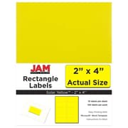 "Jam Paper 2"" x 4"" Inkjet/Laser Mailing Address Labels, Astrobright Solar Yellow, 12/Pack (302724410)"