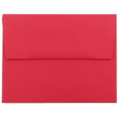 JAM Paper® A2 Invitation Envelopes, 4 3/8 x 5 3/4, Brite Hue Red Recycled, 25/pack (15845)