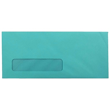 JAM Paper® #10 Window Envelopes, 4 1/8 x 9 1/2, Brite Hue Sea Blue Recycled, 25/pack (5156478)