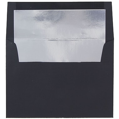 JAM Paper® A7 Foil Lined Envelopes, 5.25 x 7.25, Black Linen with Silver Lining, 25/pack (3243688)