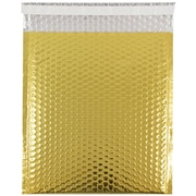 JAM Paper® Bubble Mailers with Peel and Seal Closure, 10 x 13, Gold Metallic, 12/pack (2745209)