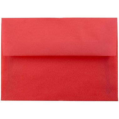 JAM Paper® 4bar A1 Envelopes, 3 5/8 x 5 1/8, Red Translucent Vellum, 25/pack (1591618)