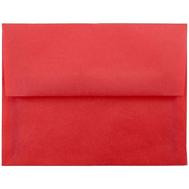 JAM Paper® A2 Invitation Envelopes, 4 3/8 x 5 3/4, Red Translucent Vellum, 25/pack (PACV605)
