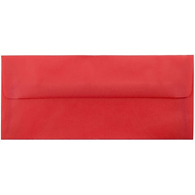 JAM Paper® #10 Business Envelopes, 4 1/8 x 9 1/2, Red Translucent Vellum, 25/pack (PACV355)
