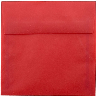 JAM Paper® 5.5 x 5.5 Square Envelopes, Red Translucent Vellum, 25/pack (1591906)