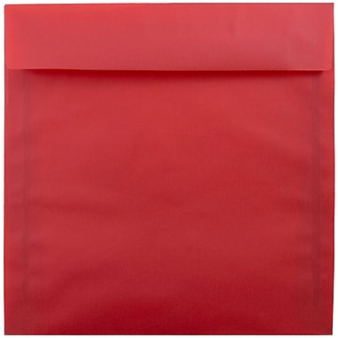 JAM Paper® 8.5 x 8.5 Square Envelopes, Red Translucent Vellum, 25/pack (1592165)