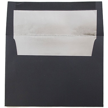 JAM Paper® A6 Foil Lined Envelopes, 4.75 x 6.5, Black Linen Recycled with Silver Lining, 1000/carton (03243681B)