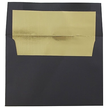 JAM Paper® A6 Foil Lined Envelopes, 4.75 x 6.5, Black Linen Recycled with Gold Lining, 25/pack (3243678)