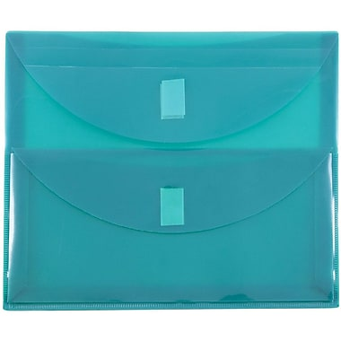 JAM Paper® Plastic 2 Pocket Envelopes, VELCRO® Brand Closure, Letter Booklet, 9.75 x 13, Teal Blue Poly, 1/pk (2163613460)