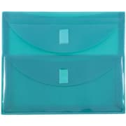 "JAM Paper® 9 3/4"" x 13"" 2 Pocket Letter Booklet Plastic Envelopes w/VELCRO® Brand Closure, Teal, Sold Individually"