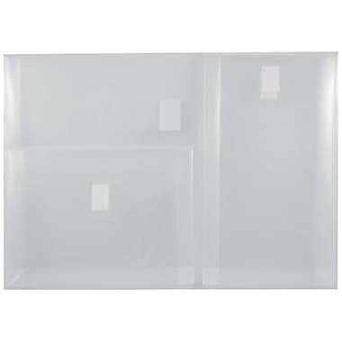 JAM Paper® Plastic 3 Pocket Envelopes, VELCRO® Brand Closure, Letter Booklet, 9.75 x 13, Clear Poly, 12/pack (B35318)