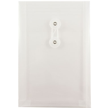 JAM Paper® Plastic Envelopes with Button and String Tie Closure, Open End, 6.25 x 9.25, Clear Poly, 12/pack (472B1CL)