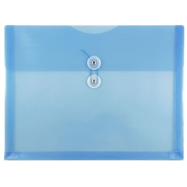 JAM Paper® Plastic Envelopes with Button and String Tie Closure, Letter Booklet, 9.75 x 13, Blue Poly, 12/pack (218B1BU)