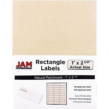 JAM Paper® Mailing Address Labels, 1 x 2 5/8, Natural Parchment, 120/pack (2273704)