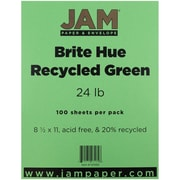 "JAM Paper® 24 lb. 8 1/2"" x 11"" Brite Hue Recycled Paper, Green, 100 Sheets/Pack"