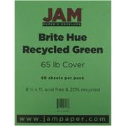 "JAM Paper® 65 lb. 8 1/2"" x 11"" Brite Hue Recycled Cardstock, Green, 50 Sheets/Pack"